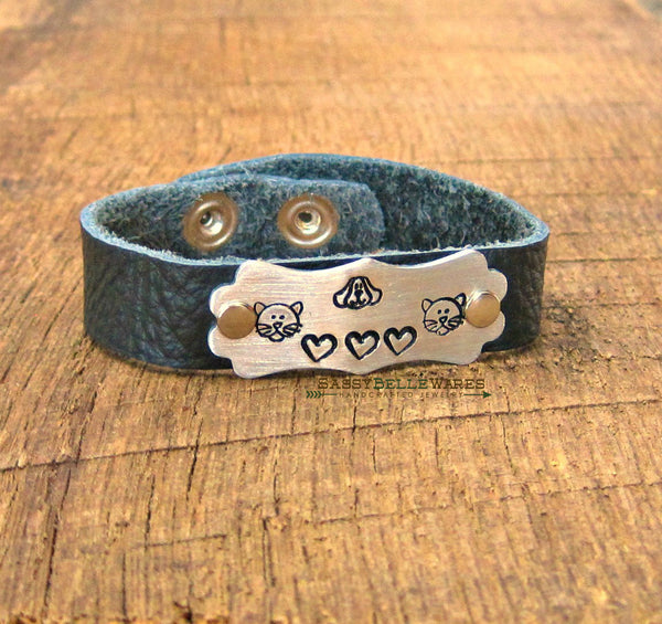 Cats Dogs and Love Leather Bracelet