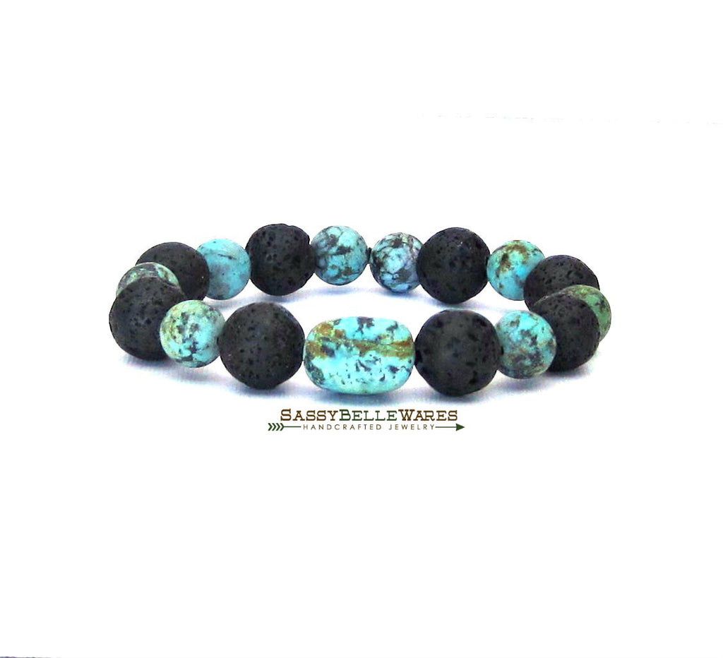 As Seen on Cedar Cove Lava Rock and African Turquoise Bracelet