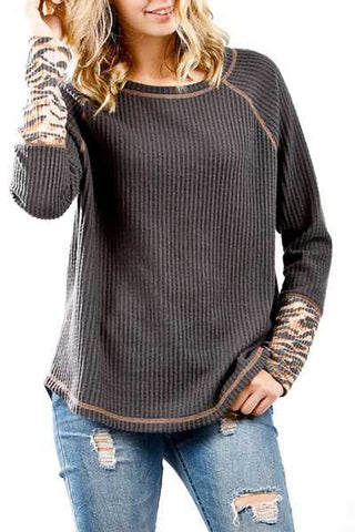Charcoal Waffle Knit Long Sleeve Top with Tiger Print Cuff