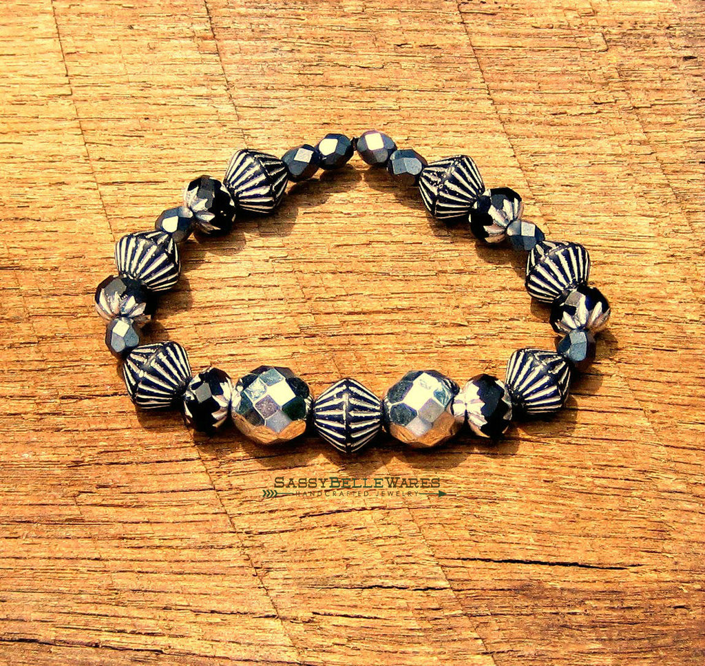 As Seen on Chasing Life silver and black bracelet