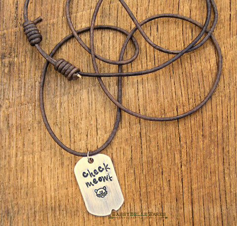 Check Meowt Dog Tag Leather Necklace