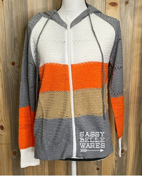 Color Block Zippered Hoodie Sweater