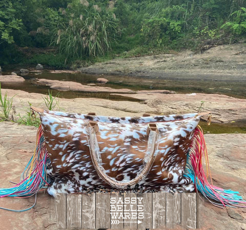 Weekender Bag -  Cow Hide Print and Multicolor Fringe