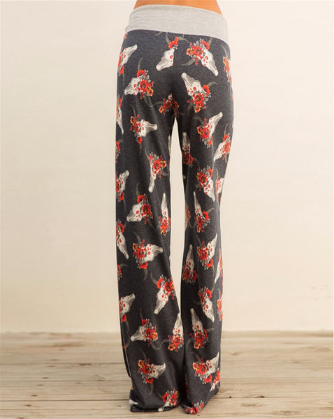 Floral Cow Skull Lounge Pants