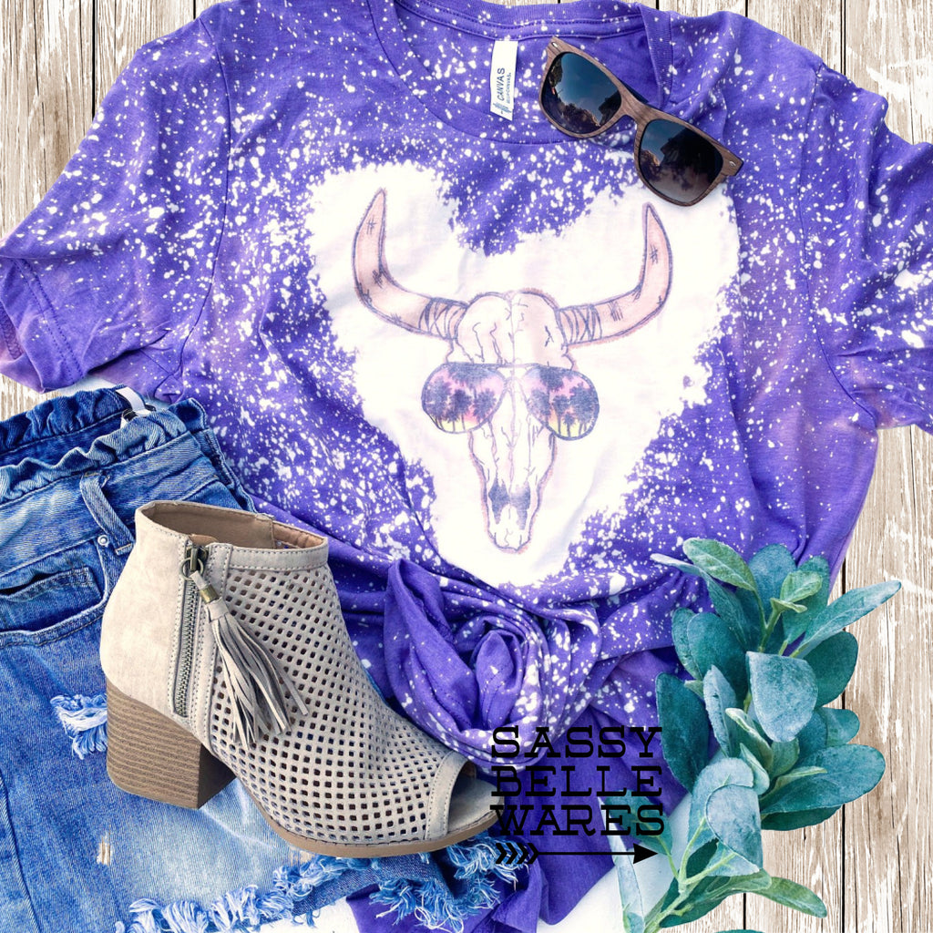 Steer Skull in Sunglasses Tee - Purple Bleached