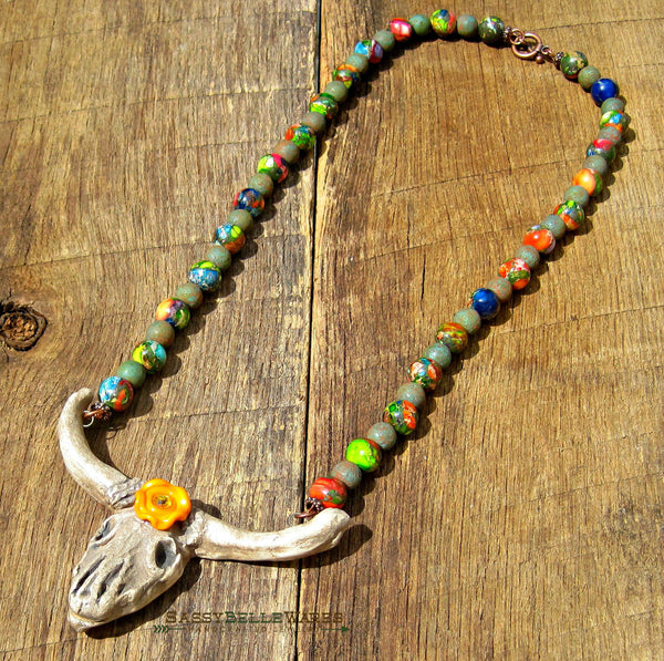 Rustic Steer Skull Necklace