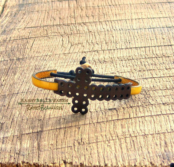 Leather Cross Bracelet