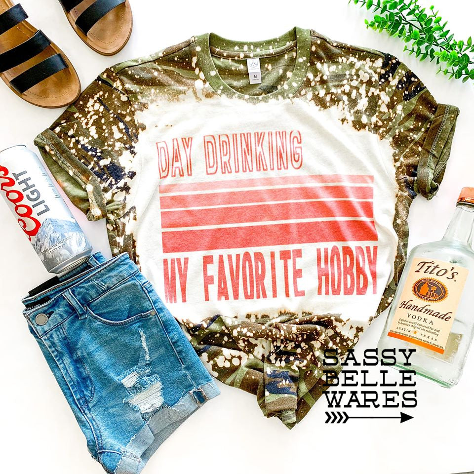 Day Drinking My Favorite Hobby Tee - Camo Bleached