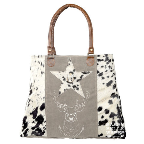 Deer and Star Cowhide Tote