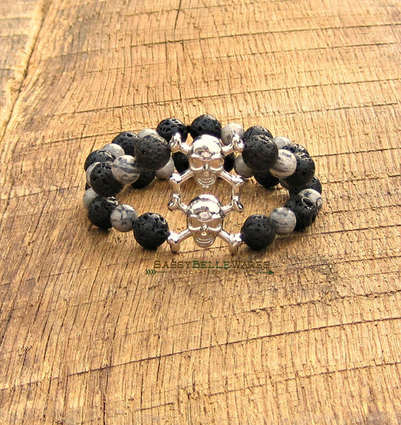 Stacked Skull and Crossbones Double Strand Bracelet