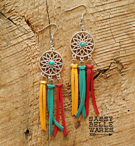 Dreamcatcher Leather Fringe Earrings