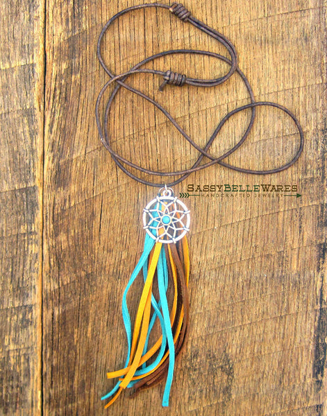 Dreamcatcher and Tassel Leather Necklace