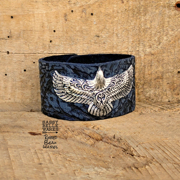 Eagle Black Leather Cuff Bracelet