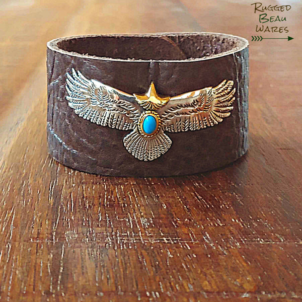 Mens Eagle Brown Leather Cuff Bracelet