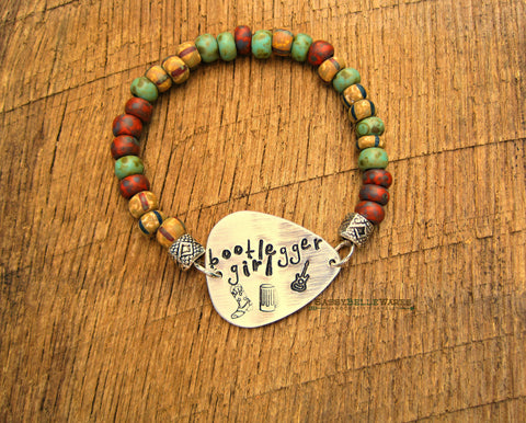 Custom Guitar Pick Bracelet Turquoise Green Red Brown Stripe Mix