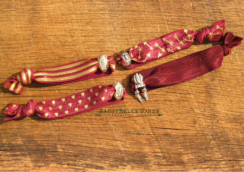 Garnet and Gold Football Knotted Hair Tie