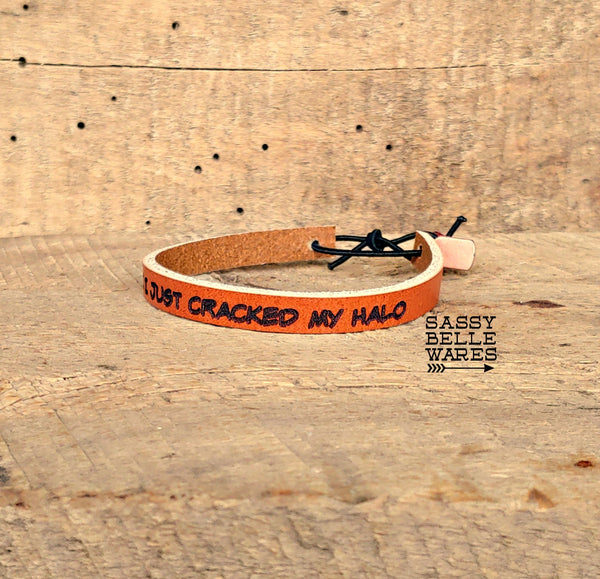 Custom Word or Phrase Leather Skinny Bracelet