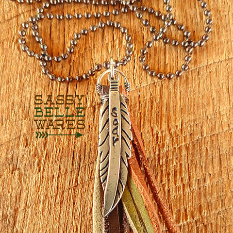 Custom Word Feather and Tassel Necklace