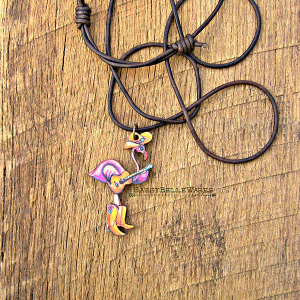 Honky Tonk Flamingo Leather Necklace