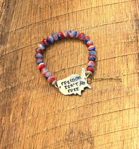 Freedom Isn't Free Czech Glass Bead Bracelet