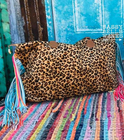 Weekender Bag - Leopard and Fringe - Black or Multicolor