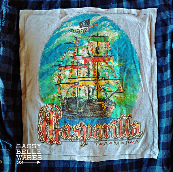 Blue Checked Repurposed Flannel Long Sleeve Tee Patch Shirt - Gasparilla