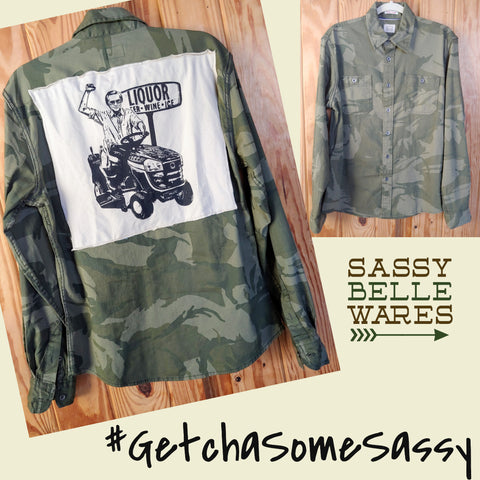 Camo Long Sleeve Tee Patch Shirt - George Jones on Lawn Mower