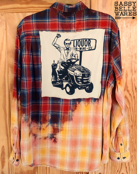 Distressed Flannel Long Sleeve Tee Patch Shirt - George Jones on Lawn Mower
