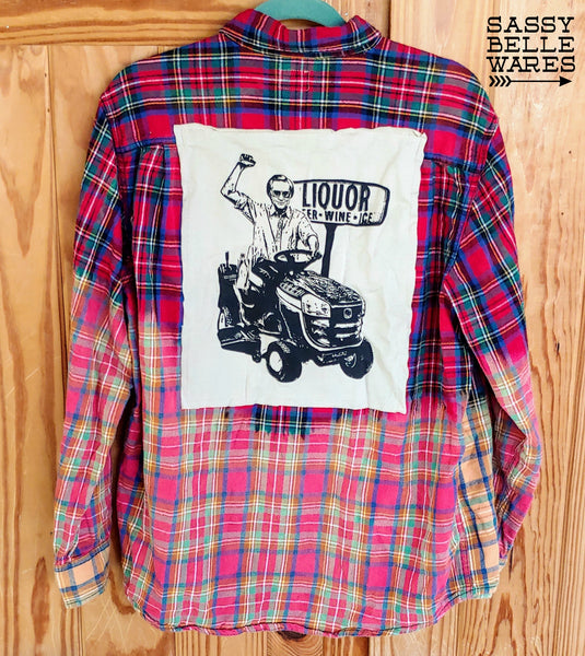 Red Plaid Distressed Flannel Long Sleeve Tee Patch Shirt - George Jones on Lawn Mower
