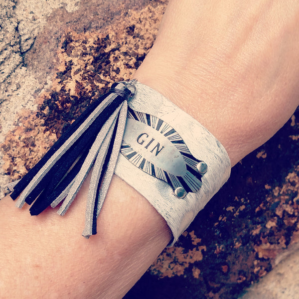Gin Silver and Black Leather Tassel Cuff Bracelet