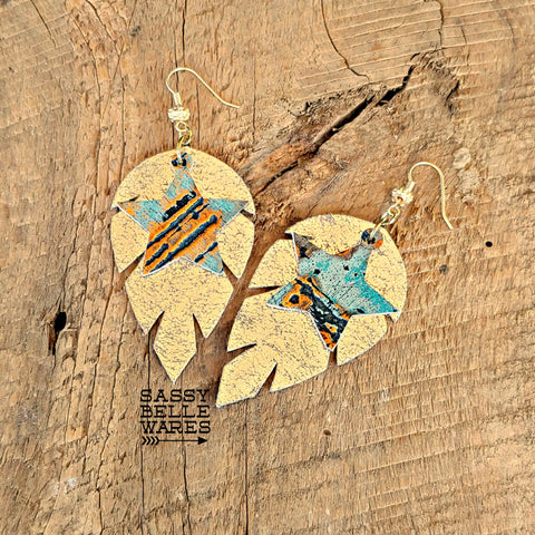 Leather Leaf Earrings Gold Crackle with Turquoise & Gold Stars