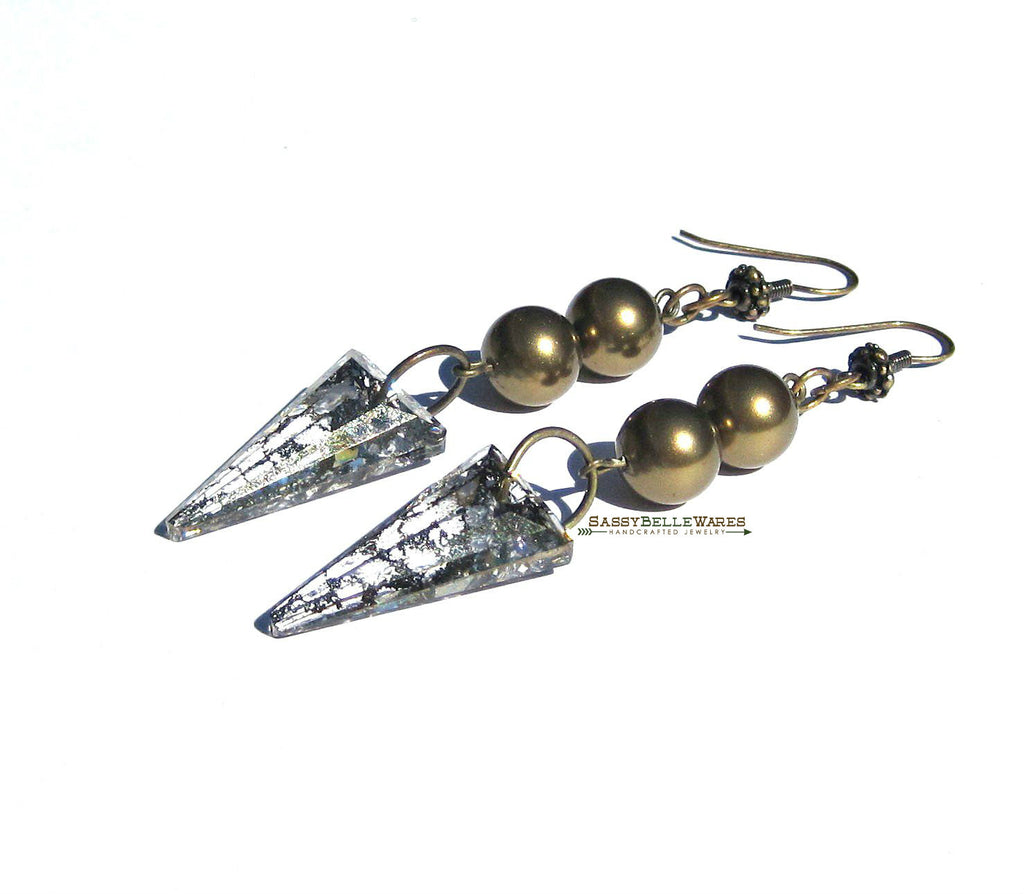 Swarovski Spike Dangle Earrings in Antique Gold