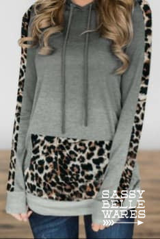 Leopard and Grey Hoodie