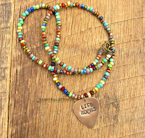 Life Rocks Guitar Pick Necklace
