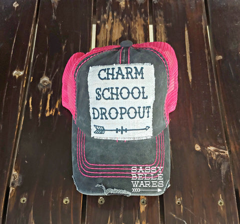 Charm School Dropout Black and Pink Hat