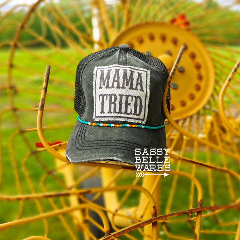 Mama Tried Black Beaded Hat - Light Bead Mix