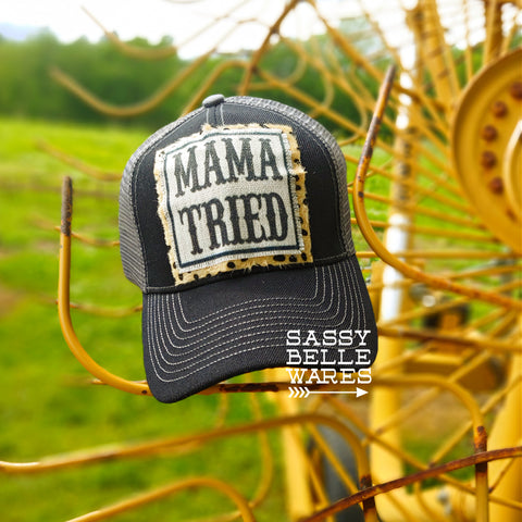 Mama Tried Black Grey Hat - Leopard Background