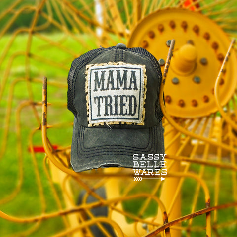 Mama Tried Black Hat - Leopard Background