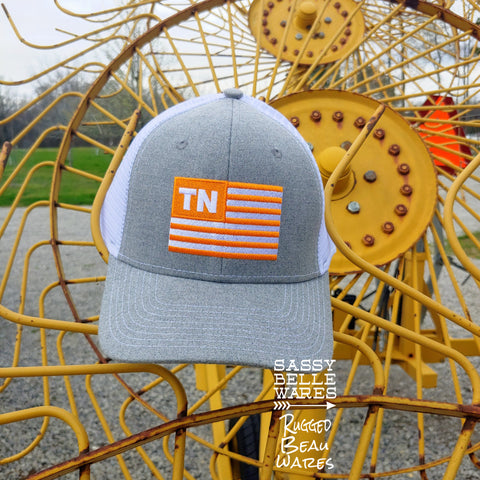 Tennessee Flag Hat - Grey and White