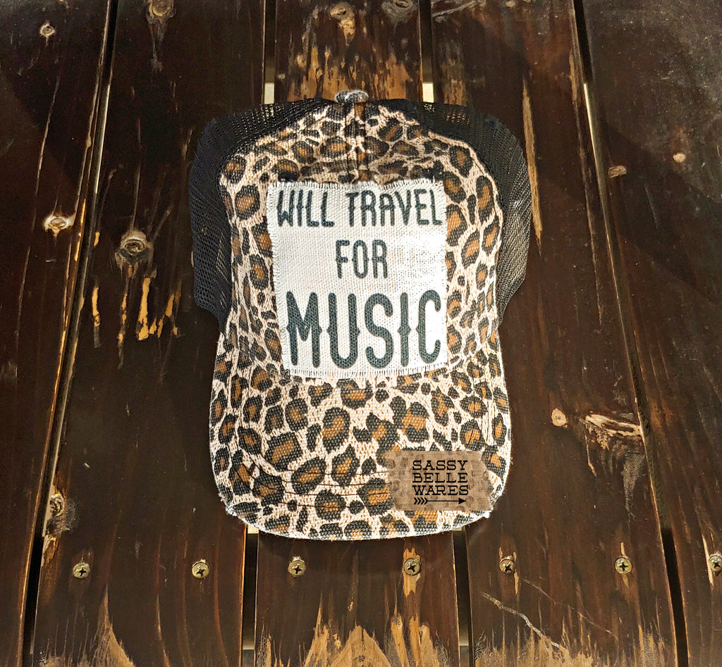 Will Travel For Music Leopard Hat