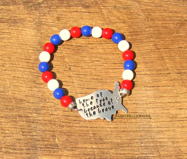 Home of the Free Because of the Brave Druk Bead Bracelet
