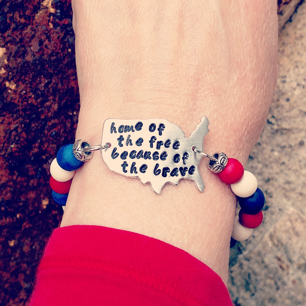 Home of the Free Because of the Brave Wood Bead Bracelet