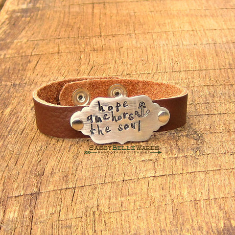 Hope Anchors the Soul Leather Bracelet