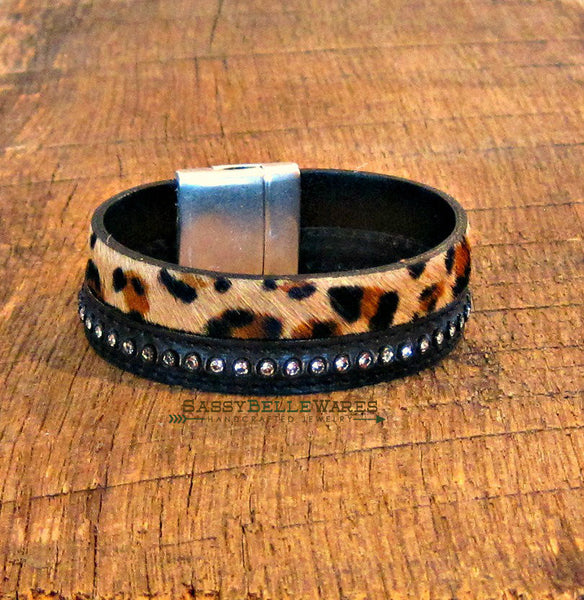 As Seen on Riverdale Leopard Print and Rhinestone Leather Bracelet