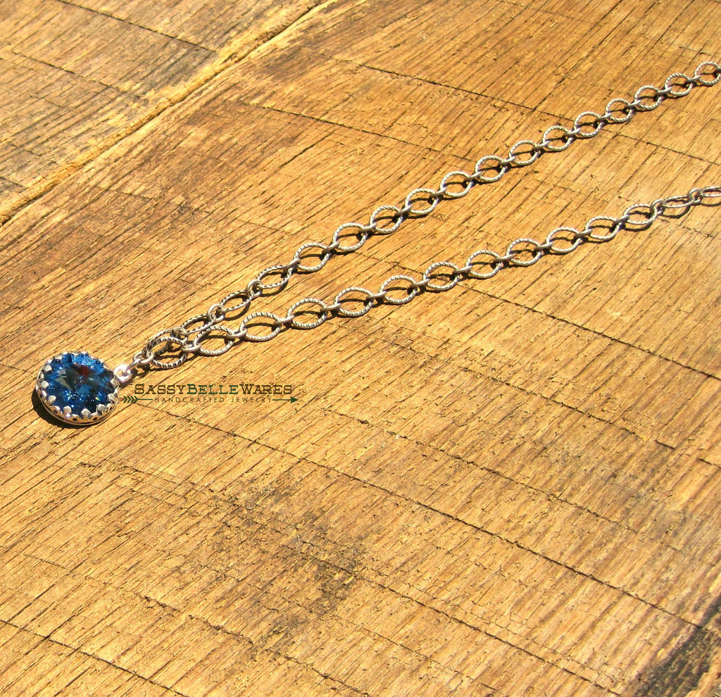 As Seen on Law and Order SVU Blue Swarovski Sterling Silver Crown Bezel Necklace