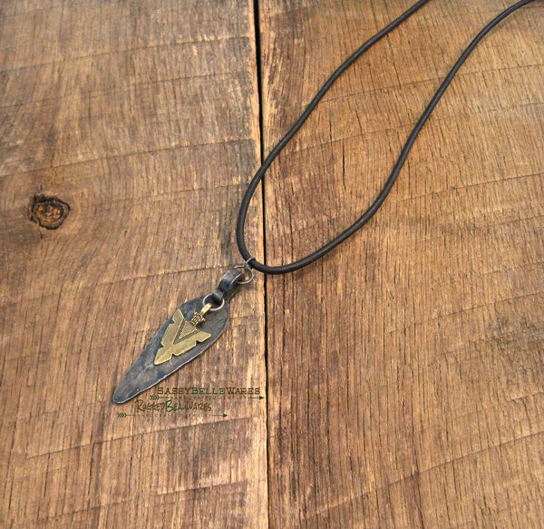 Mens Antique Bronze Arrowhead Black Leather Necklace