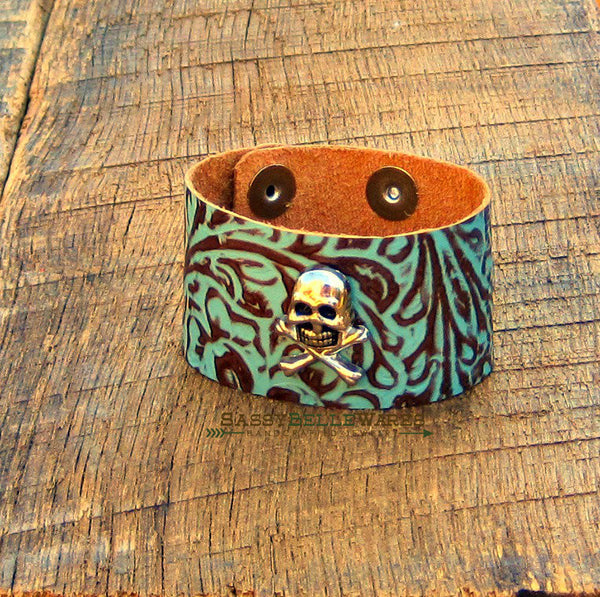 Skull and Crossbones Turquoise and Brown Leather Cuff Bracelet