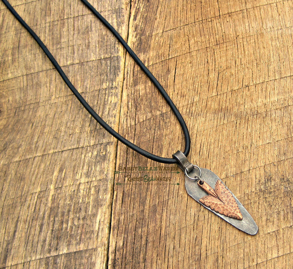 Mens Antique Copper Arrowhead Black Leather Necklace