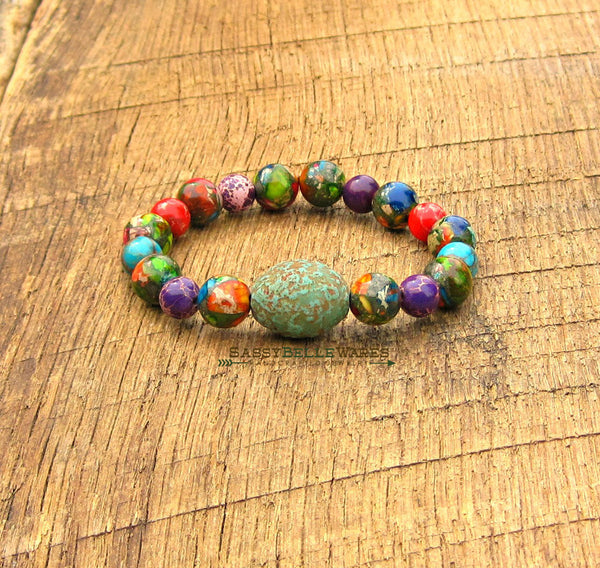 As Seen on Baby Daddy Czech Glass & Sea Sediment Jasper Bracelet