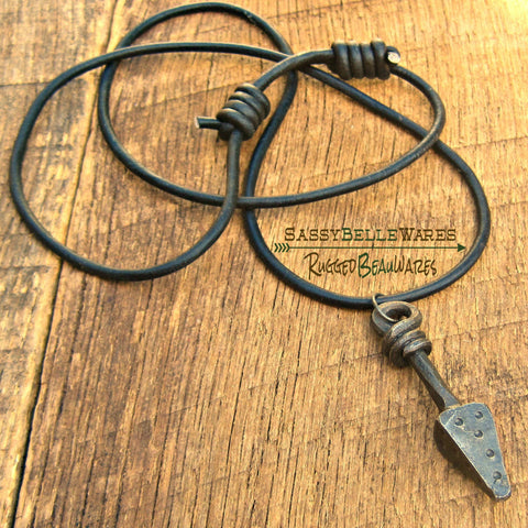 Mens Spear Leather Necklace